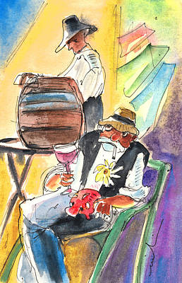 Canary Drawing - Drinking Wine In Lanzarote by Miki De Goodaboom
