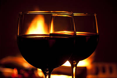 Fireplace Photograph - Drinks By The Fire by Andrew Soundarajan