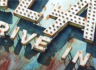 Drive-ins Painting - Drive In by Greg Halom