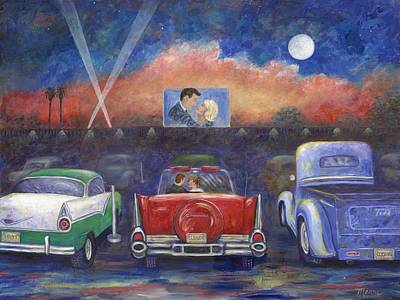 Drive-in Movie Theater Print by Linda Mears