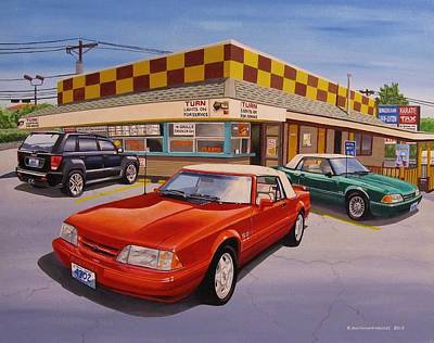 Ford Mustang Painting - Drive-in Trio by Robert VanNieuwenhuyze