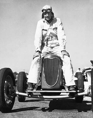 Ability Photograph - Driver And His Race Car by Underwood Archives
