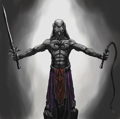 Dungeon Digital Art - Drow by Matt Kedzierski