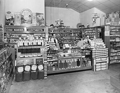 Drugstores Photograph - Drugstore Interior by Underwood Archives