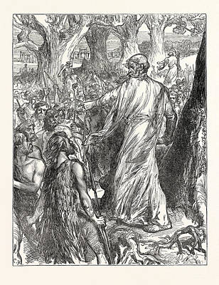 Druids Inciting The Britons To Oppose The Landing Print by English School