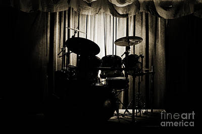 Drum Set On Stage Photograph Combo Jazz Sepia 3234.01 Print by M K  Miller