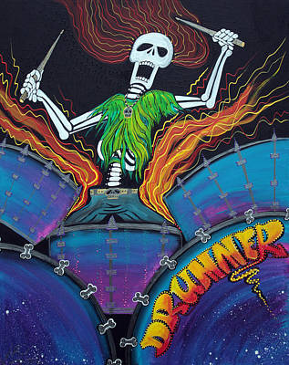 Lowbrow Painting - Drummer Of The Dead by Laura Barbosa