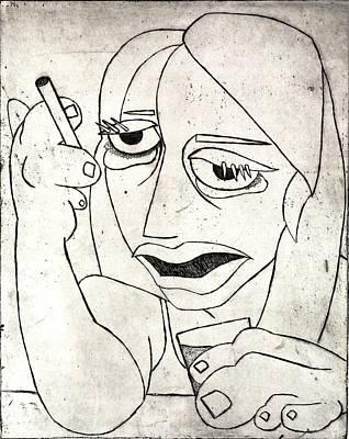 Drunk Girl Print by Thomas Valentine