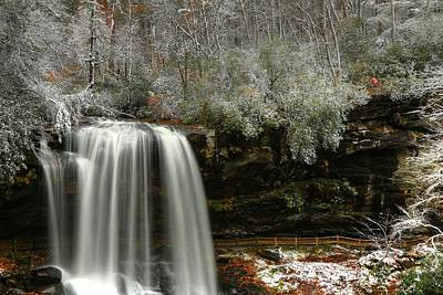 Snow Photograph - Dry Falls And A Little Snow In Autumn by Carol R Montoya