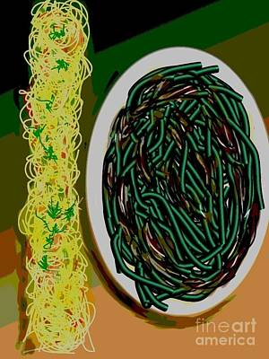 Dry Sauteed Stringbeans Print by Lisa Owen-Lynch