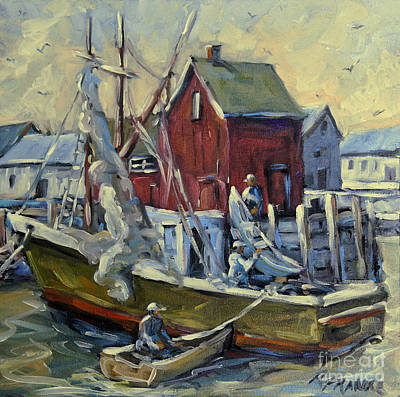 L Montreal Painting - Drying The Nets Motif I By Prankears by Richard T Pranke