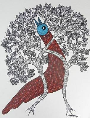 Gond Art Gallery Painting - Ds 514 by Dilip Shyam