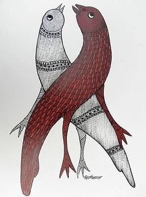 Gond Artist Painting - Ds 523 by Dilip Shyam