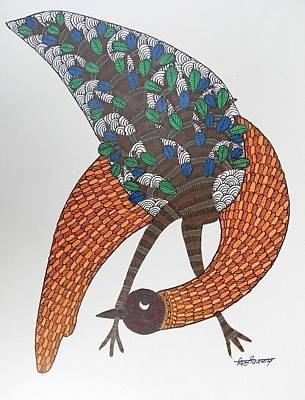 Gond Artist Painting - Ds 527 by Dilip Shyam