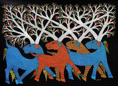 Gond Tribal Art Painting - Ds 531 by Dilip Shyam