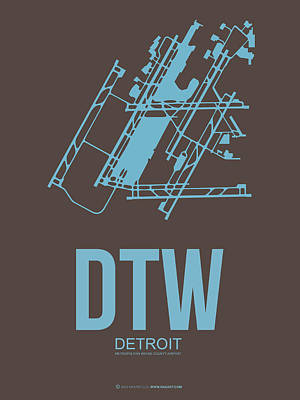 Capital Cities Digital Art - Dtw Detroit Airport Poster 1 by Naxart Studio