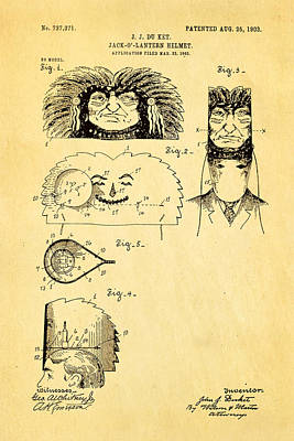 Mad Men Photograph - Du Ket Halloween Helmet Patent Art 1903 by Ian Monk