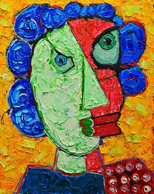 Duality In Oneness - Abstract Expressionist Portrait Original by Ana Maria Edulescu