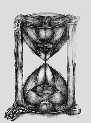 Hourglass Drawing - Duality by Mihai Manea