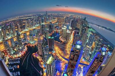 Perspective Photograph - Dubai Colors Of Night by Sanjay Pradhan