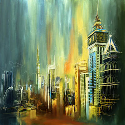 Dubai Downtown Skyline Print by Corporate Art Task Force