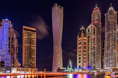 Dubai Marina Night Shot Print by Vinaya Mohan