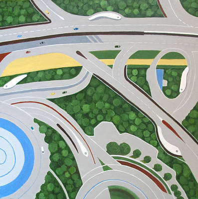 Intersection Painting - Dubai Roadways by Toni Silber-Delerive