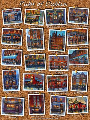 Bruxelles Painting - Dublin Pubs Corkboard by Chris Mc Morrow