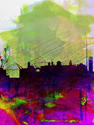 Panoramic Digital Art - Dublin Watercolor Skyline by Naxart Studio