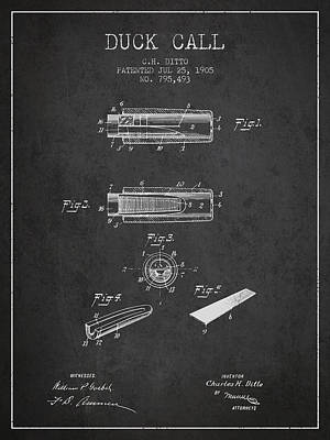 Hunters Drawing - Duck Call Instrument Patent From 1905 - Charcoal by Aged Pixel