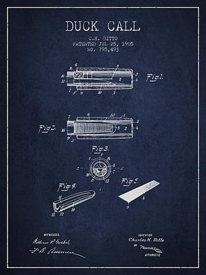 Old Blueprint Digital Art - Duck Call Instrument Patent From 1905 - Navy Blue by Aged Pixel