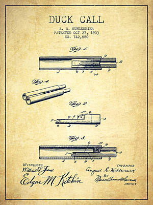 Hunters Drawing - Duck Call Patent From 1903 - Vintage by Aged Pixel