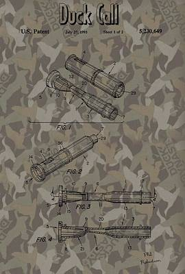 Waterfowl Mixed Media - Duck Dynasty Camouflage Patent by Dan Sproul