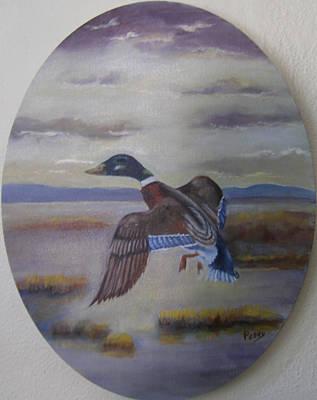 Duck In Flight Original by Mark Perry