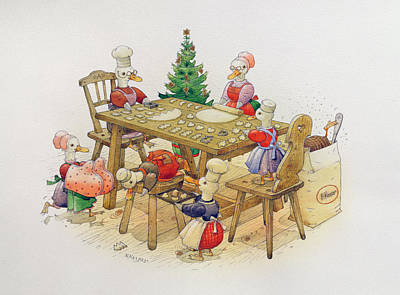 Christmas Tree Drawing - Ducks Christmas by Kestutis Kasparavicius