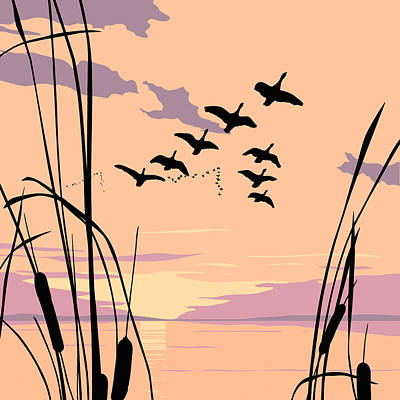 Ducks Flying Over The Lake Abstract Sunset - Square Format Original by Walt Curlee