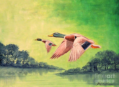 Waterfowl Painting - Ducks In Flight by Bill Holkham