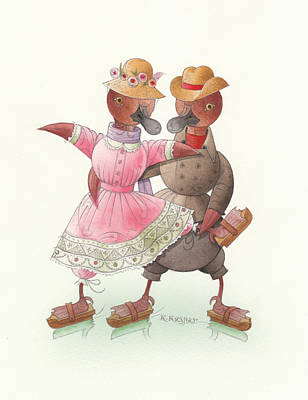Ducks On Skates 07 Original by Kestutis Kasparavicius