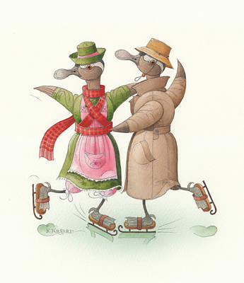 Ducks On Skates 11 Original by Kestutis Kasparavicius