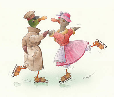 Ducks On Skates 17 Original by Kestutis Kasparavicius