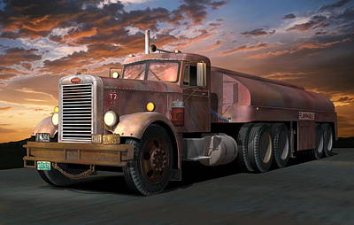 Old Trucks Digital Art - Duel Truck With Trailer by Stuart Swartz