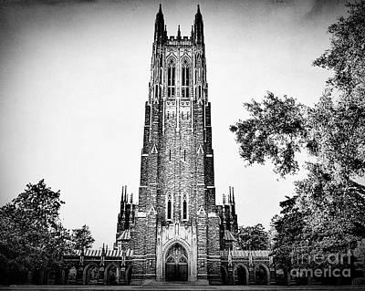 Duke Photograph - Duke Chapel In Black And White by Emily Kay