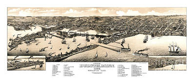 Vintage Map Painting - Duluth - Minnesota - 1883 by Pablo Romero