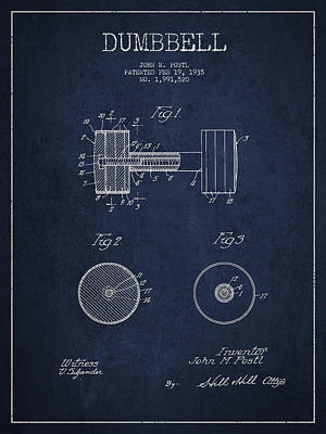 Dumbbell Patent Drawing From 1935 Print by Aged Pixel