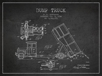 Dump Truck Patent Drawing From 1934 Print by Aged Pixel