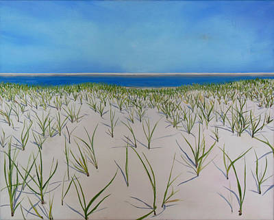 New England Lighthouse Painting - Dunes At Lighthouse Beach by Sue Birkenshaw