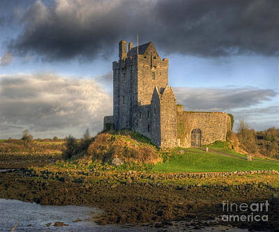 Ancient Architecture Print featuring the photograph Dunguaire Castle With Dramatic Sky Kinvara Galway Ireland by Juli Scalzi