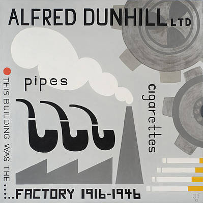 Chimney Drawing - Dunhill Factory by Carolyn Hubbard-Ford