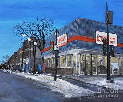 Quebec Streets Painting - Dunkin Donuts Wellington Street Verdun by Reb Frost