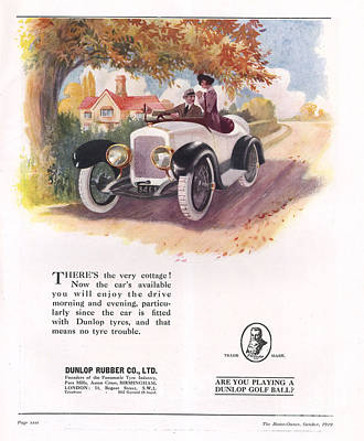 Nineteen-tens Drawing - Dunlop 1919 1910s Uk Cars Tyres by The Advertising Archives